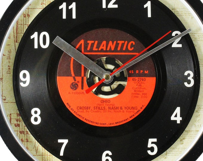 """Crosby, Stills, Nash & Young """"Ohio"""" Record Clock 45rpm Recycled Vinyl Record Wall Clock One Of A Kind"""