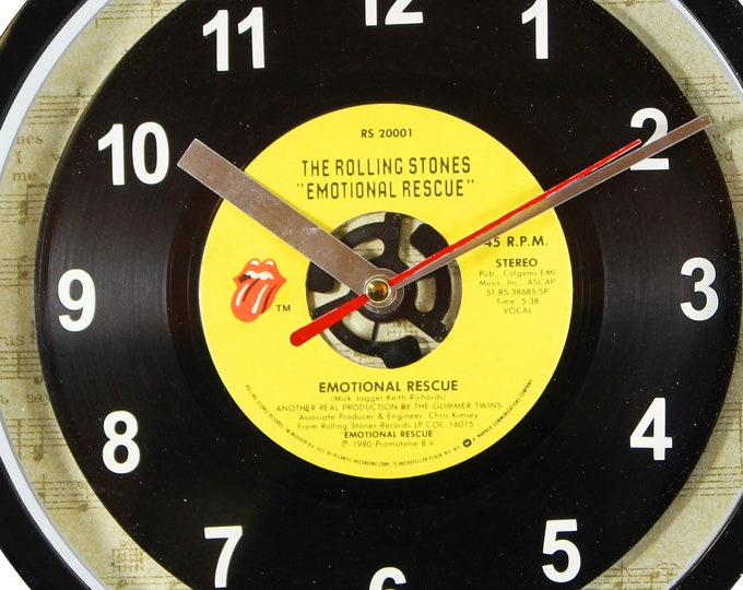 """The Rolling Stones """"Emotional Rescue"""" Record Clock 45rpm Recycled Vinyl Record Wall Clock One Of A Kind"""