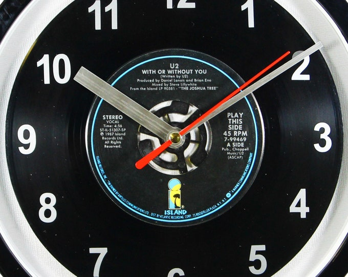 """U2 """"With Or Without You"""" 45rpm Recycled Vinyl Record Wall Clock Apple Records One Of A Kind 7"""" Single"""