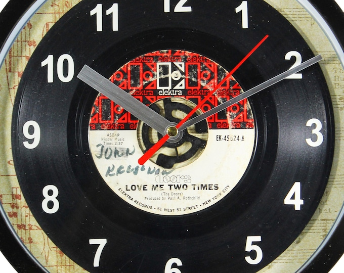 """Doors """"Love Me Two Times"""" Record Clock 45rpm Recycled Vinyl Record Wall Clock One Of A Kind"""