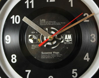 """Suzanne Vega """"Luka"""" Record Clock 45rpm Recycled Vinyl Record Wall Clock One Of A Kind"""
