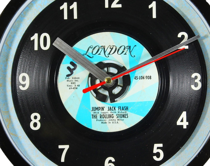 """The Rolling Stones """"Jumpin' Jack Flash"""" Record Clock 7"""" 45rpm Recycled Vinyl Record Wall Clock One Of A Kind"""