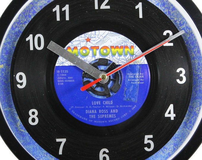 "Diana Ross ""Love Child"" Record Clock 7"" 45rpm Recycled Vinyl Record Wall Clock One Of A Kind"