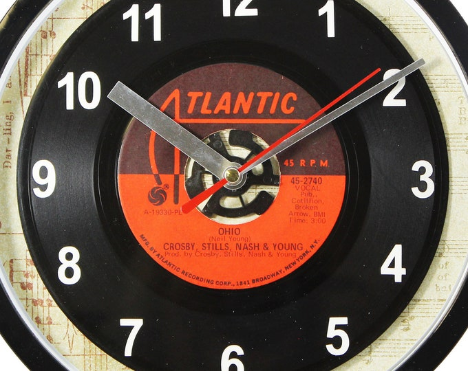 """Crosby, Stills, Nash & Young """"Ohio"""" Record Clock 7"""" 45rpm Recycled Vinyl Record Wall Clock One Of A Kind"""