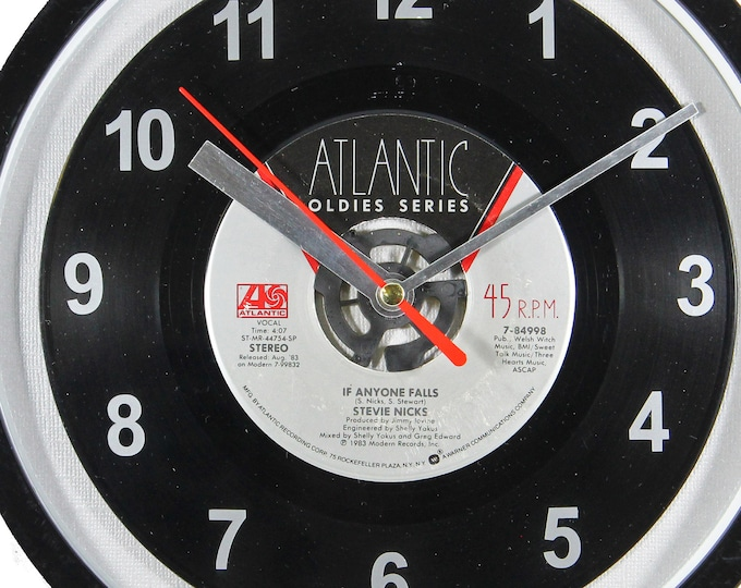 "Stevie Nicks ""If Anyone Falls"" 45rpm Recycled Vinyl Record Wall Clock One Of A Kind"