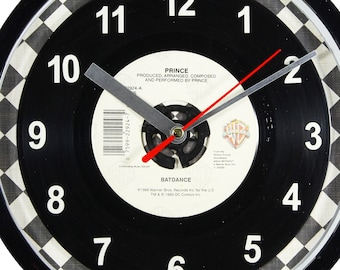 """Prince """"Batdance"""" Record Clock 7"""" 45rpm Recycled Vinyl Record Wall Clock One Of A Kind"""