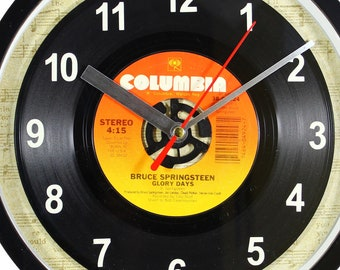 """Bruce Springsteen """"Glory Days"""" Record Clock 7"""" 45rpm Recycled Vinyl Record Wall Clock One Of A Kind"""