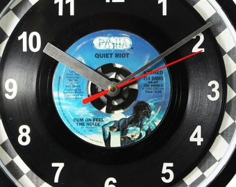 "Quiet Riot ""Cum On Feel The Noize"" Record Clock 7"" 45rpm Recycled Vinyl Record Wall Clock One Of A Kind"