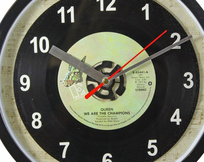 """Queen """"We Are The Champions"""" Record Clock 45rpm Recycled Vinyl Record Wall Clock One Of A Kind"""