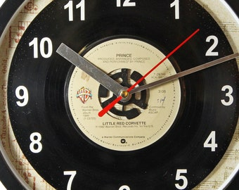 "Prince ""Little Red Corvette"" Record Clock 7"" 45rpm Recycled Vinyl Record Wall Clock One Of A Kind"
