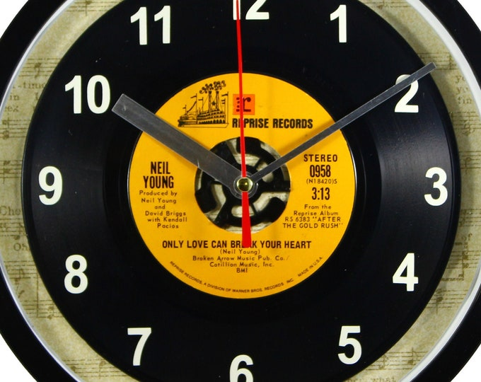 """Neil Young """"Only Love Can Break Your Heart"""" Record Clock 45rpm Recycled Vinyl Record Wall Clock One Of A Kind"""