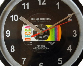 """The Who """"Call Me Lightning"""" Record Clock 7"""" 45rpm Recycled Vinyl Record Wall Clock One Of A Kind"""