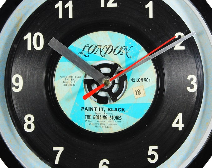 """The Rolling Stones """"Paint It, Black"""" Record Clock 7"""" 45rpm Recycled Vinyl Record Wall Clock One Of A Kind"""
