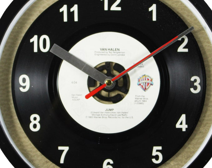 "Van Halen ""Jump""  Record Clock 45rpm Recycled Vinyl Record Wall Clock One Of A Kind"