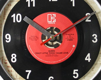 "Queen ""Crazy Little Thing Called Love"" Record Clock 45rpm Recycled Vinyl Record Wall Clock One Of A Kind"