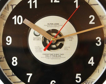 """Elton John """"I Guess That's Why They Call It The Blues"""" Record Clock 7"""" 45rpm Recycled Vinyl Record Wall Clock One Of A Kind"""