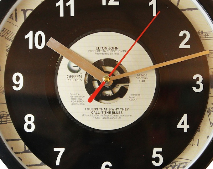 "Elton John ""I Guess That's Why They Call It The Blues"" Record Clock 7"" 45rpm Recycled Vinyl Record Wall Clock One Of A Kind"