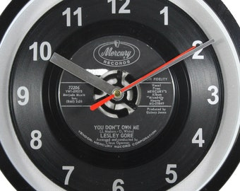 """Lesley Gore """"You Don't Own Me"""" Record Clock 7"""" 45rpm Recycled Vinyl Record Wall Clock One Of A Kind"""