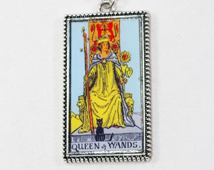 Queen Of Wands Tarot Card Pendant Necklace