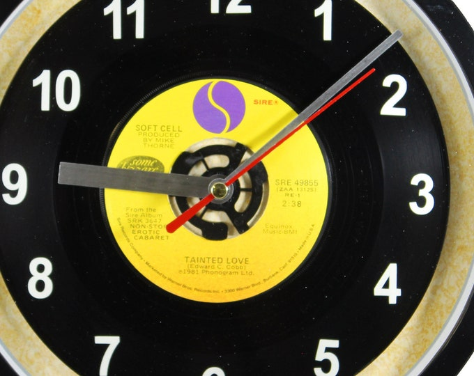 """Soft Cell """"Tainted Love"""" 45rpm Recycled Vinyl Record Wall Clock One Of A Kind"""