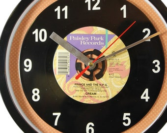 "Prince and the N.P.G.  ""Cream"" Record Clock 7"" 45rpm Recycled Vinyl Record Wall Clock One Of A Kind"