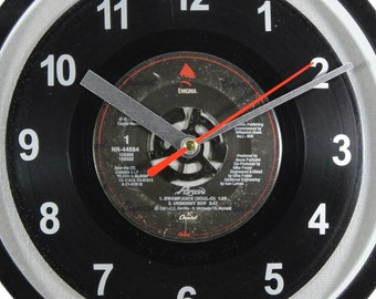 """Poison """"Swamp Juice/Unskinny Bop"""" 45rpm Recycled Vinyl Record Wall Clock One Of A Kind 7"""""""