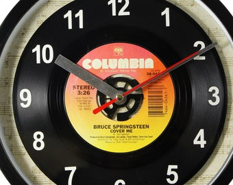"Bruce Springsteen ""Cover Me"" Record Clock 7"" 45rpm Recycled Vinyl Record Wall Clock One Of A Kind"