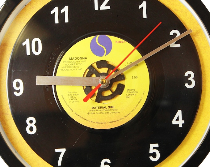 "Madonna ""Material Girl"" Record Clock 7"" 45rpm Recycled Vinyl Record Wall Clock One Of A Kind"