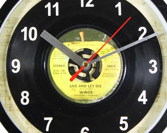 """Wings """"Live And Let Die"""" Record Clock 45rpm Recycled Vinyl Record Wall Clock One Of A Kind"""