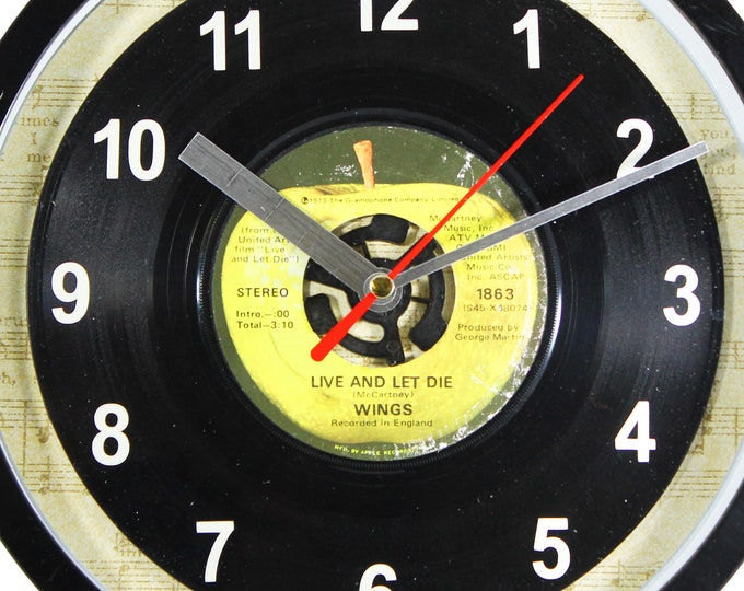 "Wings ""Live And Let Die"" Record Clock 45rpm Recycled Vinyl Record Wall Clock One Of A Kind"