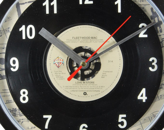 """Fleetwood Mac """"Love In Store"""" 45rpm Recycled Vinyl Record Wall Clock One Of A Kind"""
