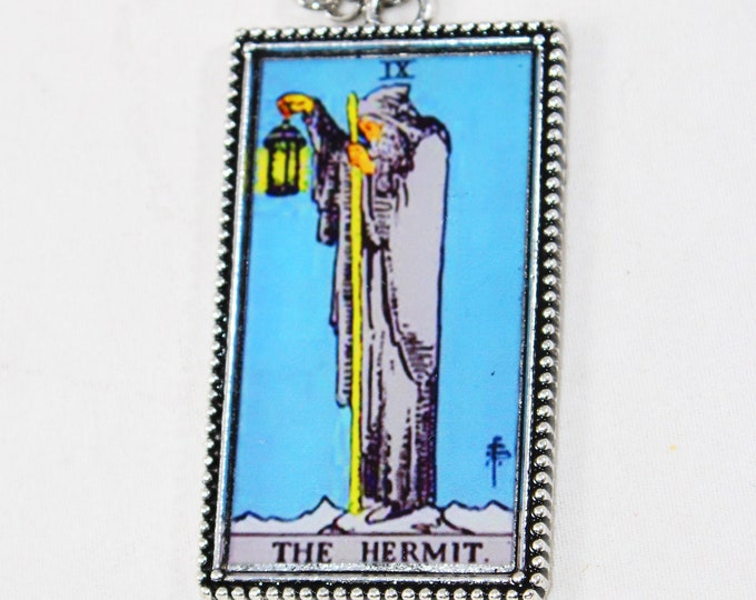 The Hermit Card Pendant Necklace