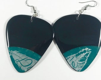 "Vinyl Record Earrings- Turquoise ""Dore"" Label, Pick Shaped Recycled One Of A Kind, Lightweight, Upcycled"