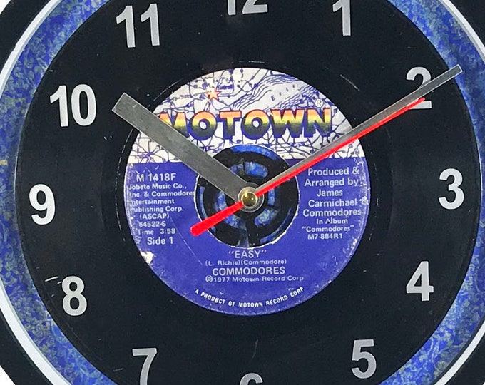 """The Commodores """"Easy"""" Motown 45rpm Recycled Vinyl Record Wall Clock One Of A Kind"""