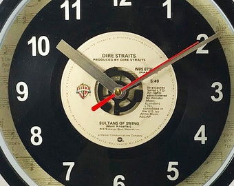 """Dire Straits """"Sultans Of Swing"""" Record Clock 7"""" 45rpm Recycled Vinyl Record Wall Clock One Of A Kind"""