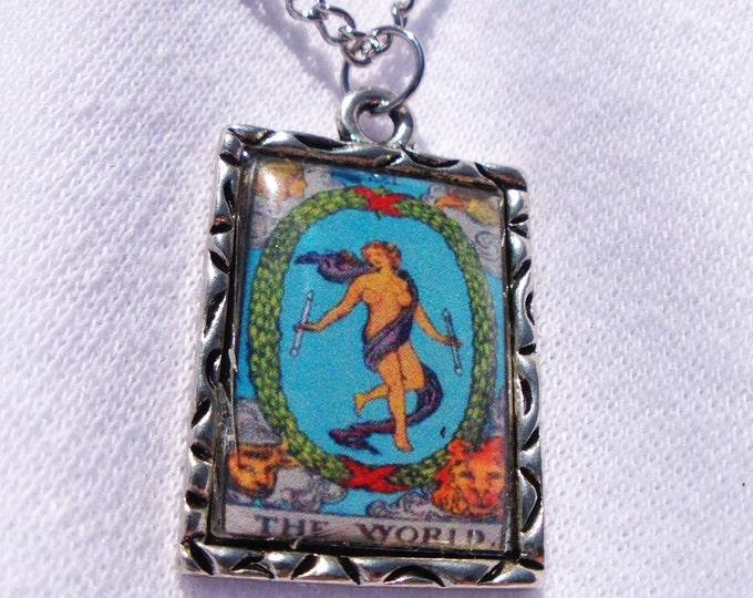 The World Tarot Card Charm Necklace
