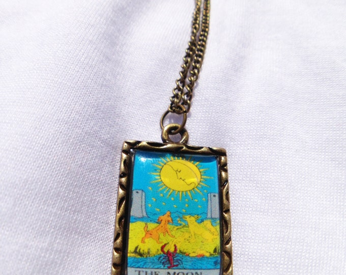 The Moon Tarot Card Charm Necklace