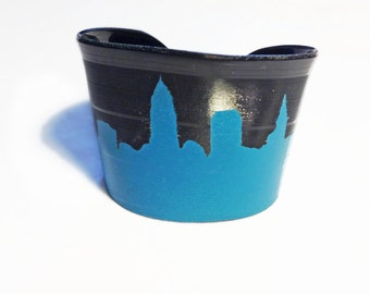 Cleveland Skyline Upcycled Vinyl Record Cuff in Sky Blue Turquoise