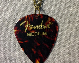 Fender Classic Celluloid Tortoise Shell Guitar Pick Necklace