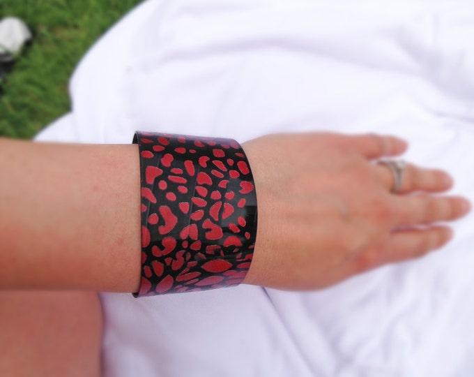 Red Leopard Flat Cut Upcycled Vinyl Record Cuff Bracelet- Repurposed LP