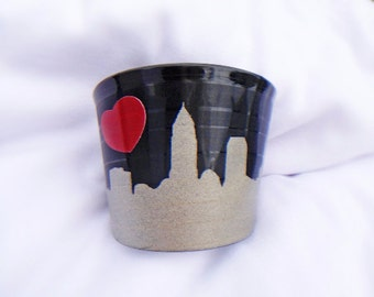 Cleveland Skyline with Heart made from an Upcycled Vinyl Record Cuff- Repurposed LP