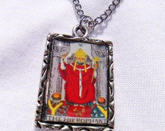 The Hierophant Tarot Card Charm Necklace
