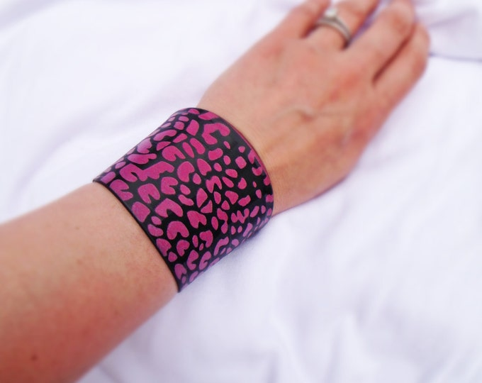 Hot Pink Leopard Upcycled Vinyl Record Cuff Bracelet- Repurposed LP