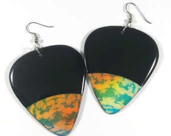 Vinyl Record Earrings-  Orange & Turquoise Label, Pick Shaped Recycled One Of A Kind, Lightweight, Upcycled