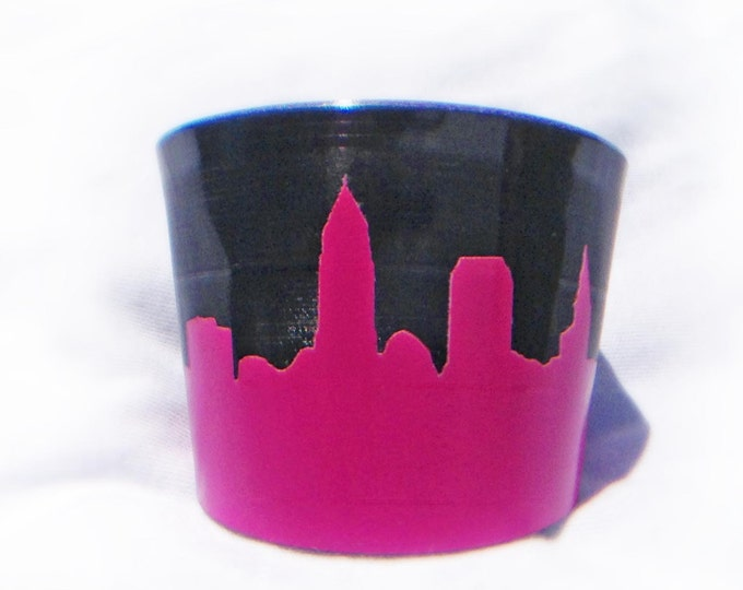 Cleveland Skyline Upcycled Vinyl Record Cuff in Hot Pink Reclaimed LP