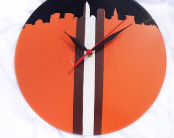 Cleveland Browns Upcycled Vinyl LP Record Wall Clock with Cleveland Skyline In Browns Helmet Colors!