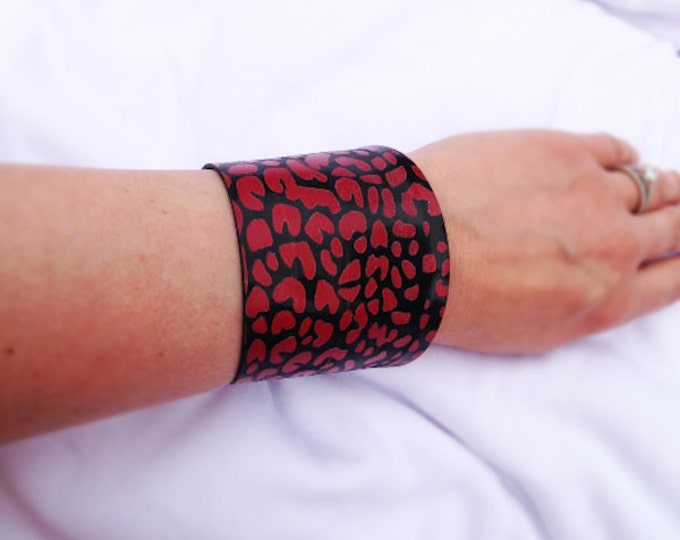Red Leopard Upcycled Vinyl Record Cuff Bracelet Repurposed LP