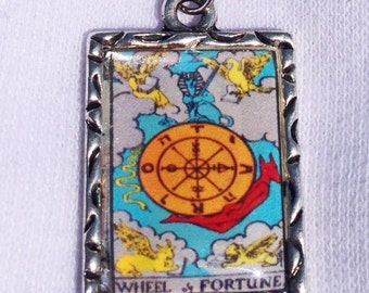 Wheel of Fortune Tarot Card Charm Necklace