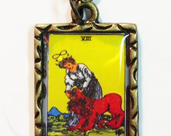 Strength Tarot Card Charm Necklace