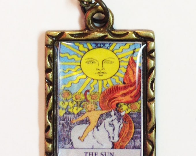 The Sun Tarot Card Charm Necklace
